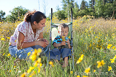 Mother and son enjoying late summer afternoon