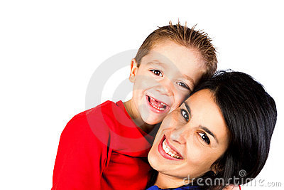 Mother and son isolated on white