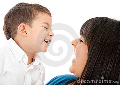 Mother and son laughing