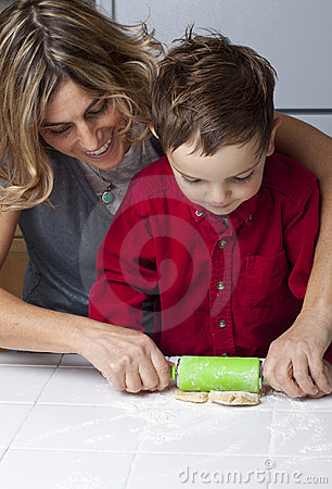 Mother and Son Making Cookies