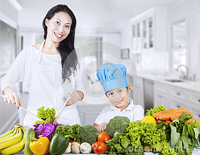 Asian family and healthy vegetable