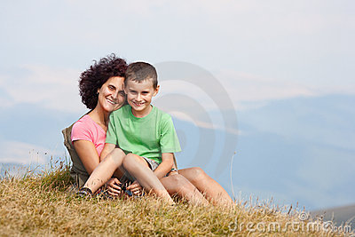 Mother and son in the mountains