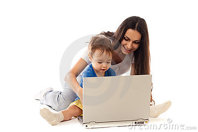 Mother and son with notebook together isolated
