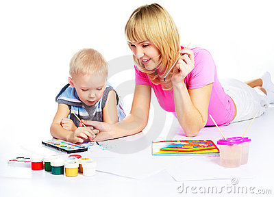 Mother and son painting