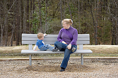 Mother and Son on park bench