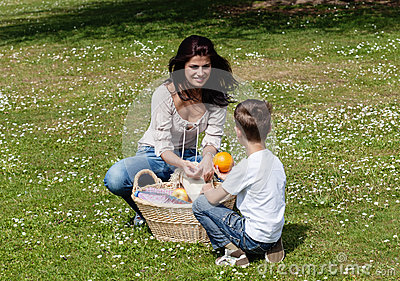 Mother and son at picnic