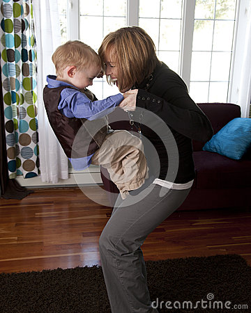Mother and son play