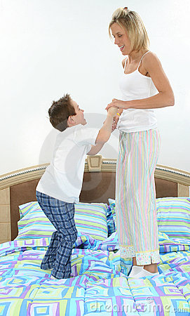 Bed Mother son in