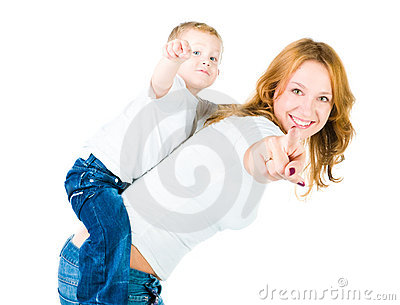 Mother and son point out