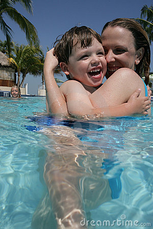 Mother and son in pool
