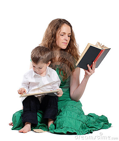 Mother and son read book and play