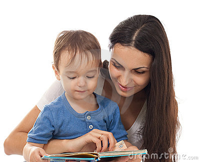 Mother and son reading book together isolated