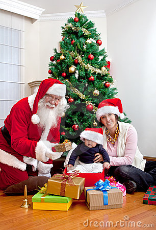 Mother and son with Santa