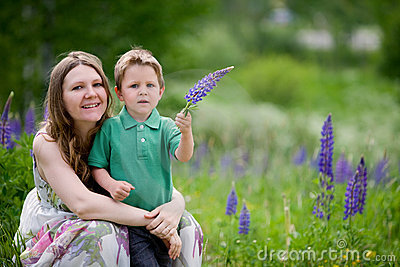 Mother and son summer portrait