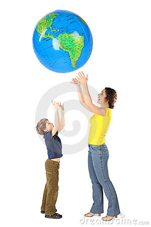 Mother and son throw up big globe, isolate