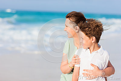 Mother and son on vacation