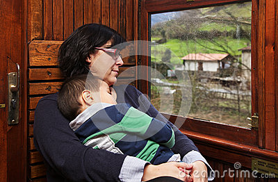 Mother and son at vintage train
