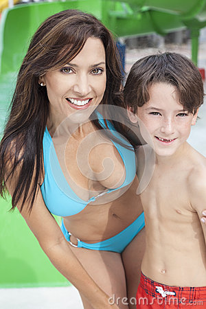 Mother Son Woman Boy Child Family Water Park