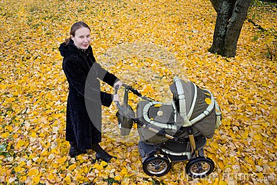 Mother with a stroller.