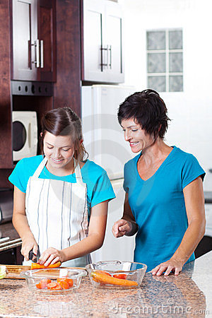 Mother teaching daughter cooking