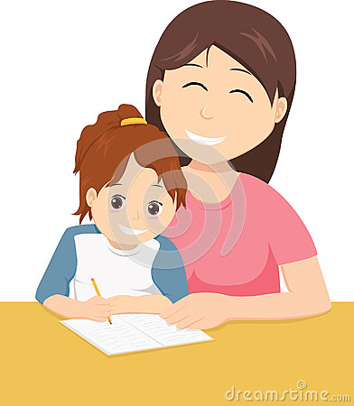 Mother teaching daughter to write Vector Illustration