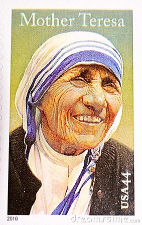 Mother Teresa, commemorated in US Postage Stamp Editorial Photography