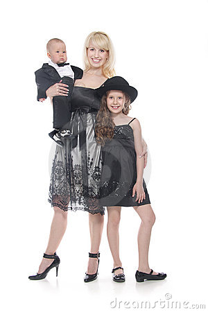 Mother and two children in formal clothes