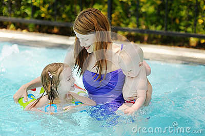 Mother and two daughters swimming in pool