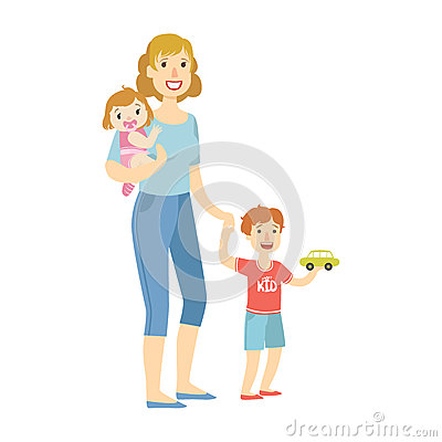 Mother With Two Kids, Baby Daughter And Little Son, Illustration From Happy Loving Families Series Vector Illustration