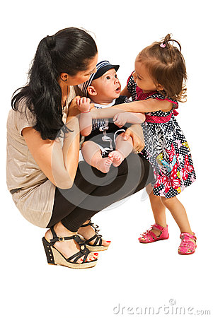 Mother with two kids talking
