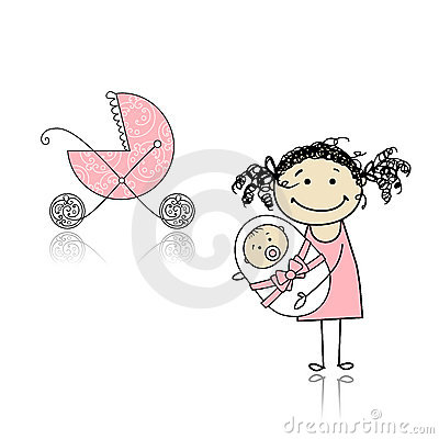 Mother walking with buggy, newborn baby