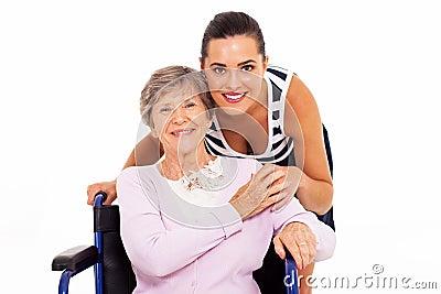 Mother wheelchair daughter