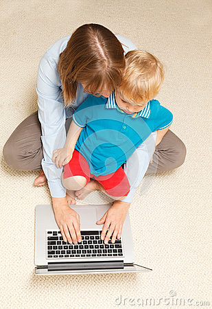 Mother working from home