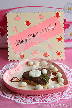 Mothers Day Card - Pink Heart Gift - Stock Photo