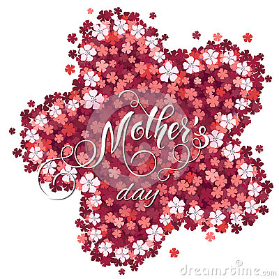 Mothers Day greeting card. Blossom tree background, spring holidays Vector Illustration