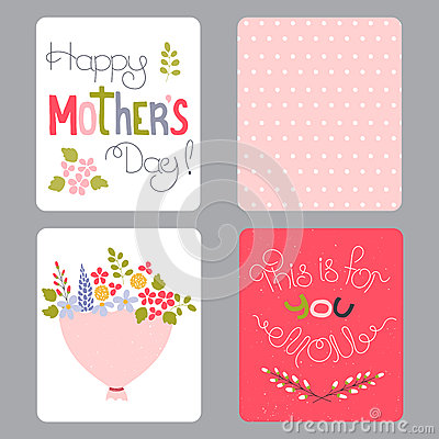 Mothers Day Set Of Cards Vector Image 69760735 – Designs of Cards for Birthday