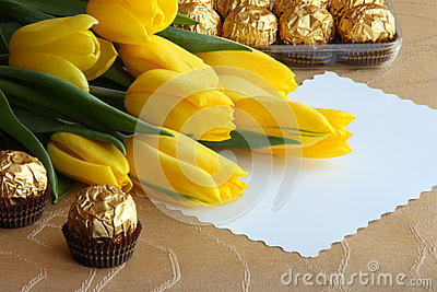 Mothers Day Tulips Gift Card - Stock Photo