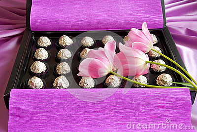 Mothers Day or Valentines Gift Box - Stock Photo