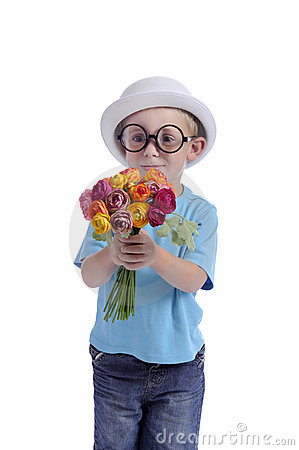 Mothers day: young boy with flowers