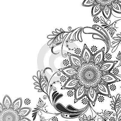 Motif oriental en noir et blanc illustration de vecteur for Dessin graphique noir et blanc
