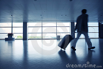 Motion blur business people walking