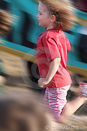 Motion blur girl in a race