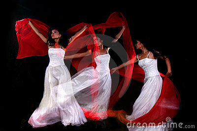 Motion Blur Multiple Exposure of Woman Dancing
