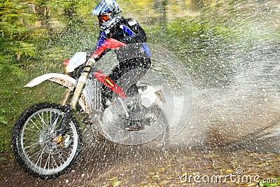 Motion blur, offroad motorbike crossing river