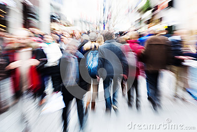 Motion blur picture of walking people