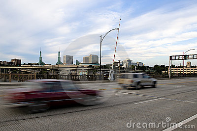 Motion blured cars on drawbridge