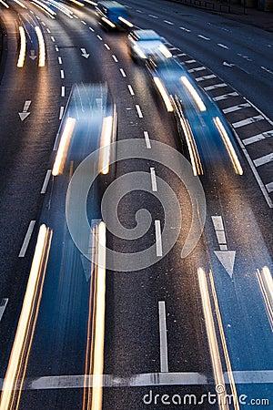 Motion blurred city road traffic
