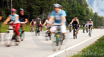 Motion blurred cyclists at cycle event