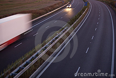 motion blurred truck on a highway
