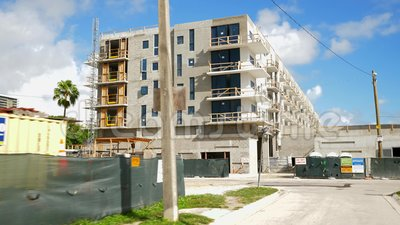 Motion-Footage-Baustelle mit Miami Upper East Side stock video footage